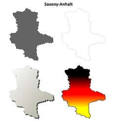 Saxony-anhalt blank outline map set vector