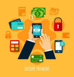 secure payment round composition vector image