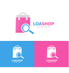 Shop and loupe logo combination sale vector