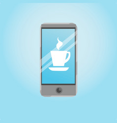 Smart phone icons with a cup of coffee on the vector