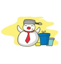 Snowman with gift christmas theme vector