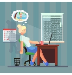 Woman at work daydreaming about summer vacation vector
