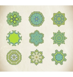 Green ornamental mandala set vector image