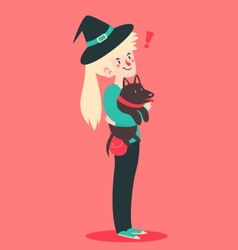 Cute Witch Holding Her Dog vector image