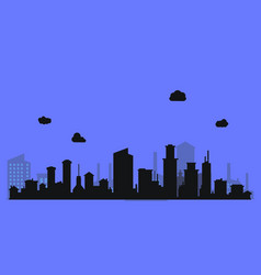 Silhouette level city with clouds and purple vector