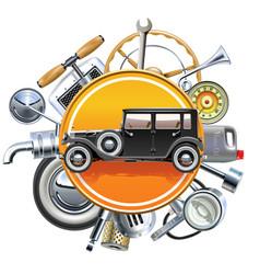 retro car parts with old automobile vector image