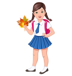 School girl brunette vector