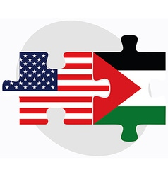 Usa and state of palestine flags in puzzle vector