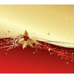 Merry christmas card with gold holly vector