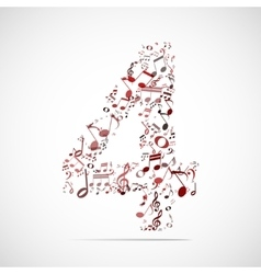 Number four made from music notes vector
