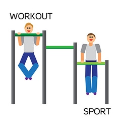 Sportman with sports equipment for street workout vector
