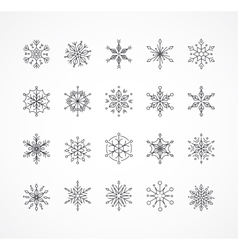 Snowlakes set geometric christmas pattern vector
