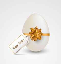 Easter card with egg ribbon and tag template vector