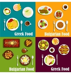 Rustic dishes of greece and bulgaria flat icons vector