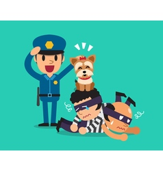 Cartoon a cute dog helping policeman to catch vector