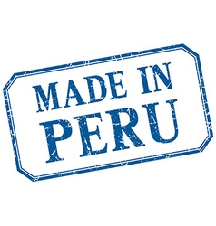 Peru - made in blue vintage isolated label vector
