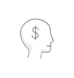 Head with dollar symbol sketch icon vector