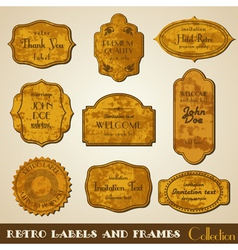Set of grunge retro Labels and Frames vector image