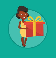 African-american woman holding box with gift vector