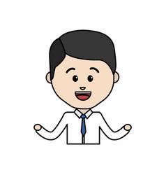 Avatar businessman line cartoon face happy vector