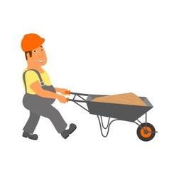 Builder with trolley is going to the project vector image