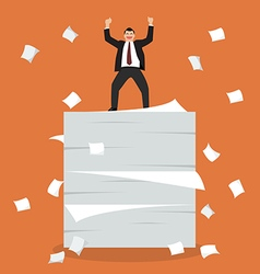 Businessman celebrating on a lot of documents vector