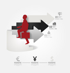 businessman up the Arrow Ladder info graphic vector image