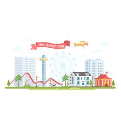 City with amusement park - modern flat design vector