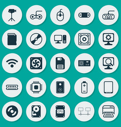 computer icons set collection of control device vector image vector image
