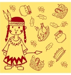 Doodle of thanksgiving indian people vector