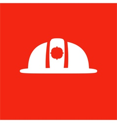 Firefighter helmet icon isolated on red background vector