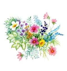 Flowers watercolor manual vector