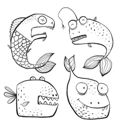 Fun Black and White Line Art Fish Characters vector image
