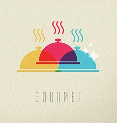 Gourmet restaurant food dish color concept design vector