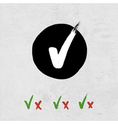 grunge check marks set vector image