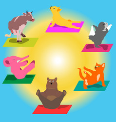 Hand-painted yoga postures with cartoon vector