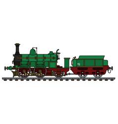 Historical green steam locomotive vector