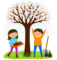kids planting saplings under a blooming tree vector image
