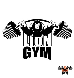 Lion gym logo angry leo strong athlete barbell and vector