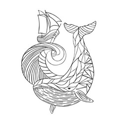 sea dudling drawing hand-drawn whale wave vector image