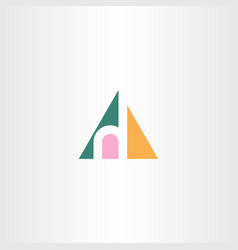 small letter h in triangle logo icon vector image vector image
