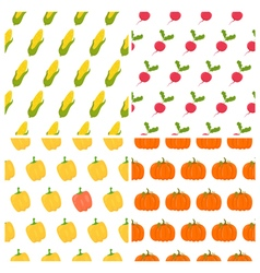 Vegetables seamless patterns set healthy food vector