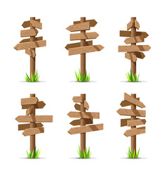 Wooden arrow signboards blank set vector