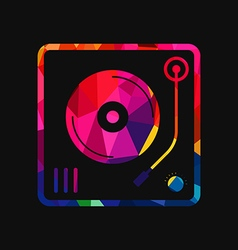 Abstract vinyl turntable polygon low-poly vector
