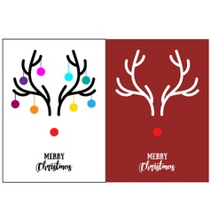 Christmas cards red nosed rudolph vector