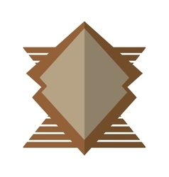 Brown shield winged geometric badge shadow vector