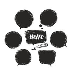Black speech bubble set doodle vector