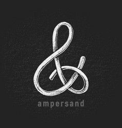 chalk ampersand hand-drawn on grunge vector image