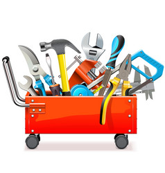 Toolbox trolley with tools vector