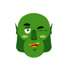 Ogre winking emoji goblin happy emotion isolated vector